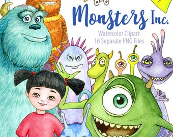 Watercolor Monsters, Inc Clipart. James Sullivan, Mike Wazowski. Digital  Prints, Printable