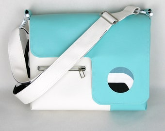 Vegan Laptop Bag Turquoise and Snow White