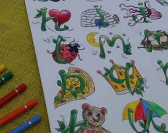 Magic Bean Alphabet Print/A3/Art Print/Wall Decor/Traditional/Fairy tale/Art for kids/Nursery Art/Original Art