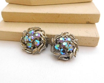 Vintage Lisner Small Blue AB Rhinestone Silver Tone Flower Clip On Earrings L50