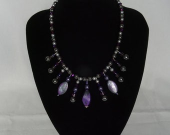 Dark purple & gunmetal grey beaded necklace, one-off design, magnetic clasp, UK shop