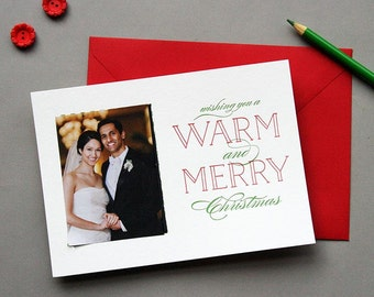 Letterpress Holiday Photo Card Letterpress Christmas Cards - Warm and Merry