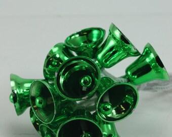 Vintage Plastic Bell Christmas Ornaments Vibrant Green Unbreakable Mid Century Retro Christmas Holiday Tree Decor