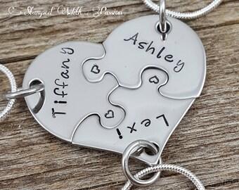 Best Friends, Forever 3 Piece Puzzle Necklace Set, Three Necklace Set, Best Friend Jewelry, Customize-Sister Jewelry, Heart Puzzle Necklaces