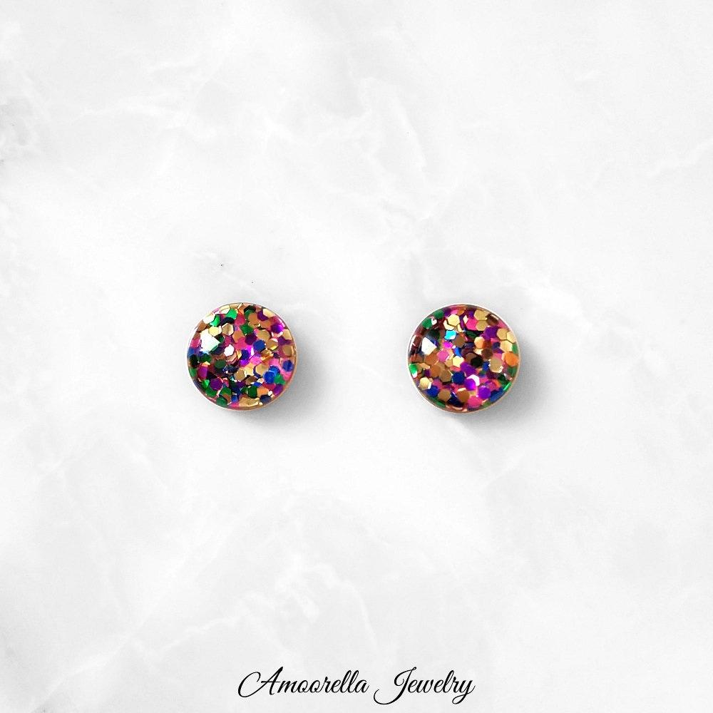 Chunky Rainbow Glitter Earrings Handmade Sequin Studs