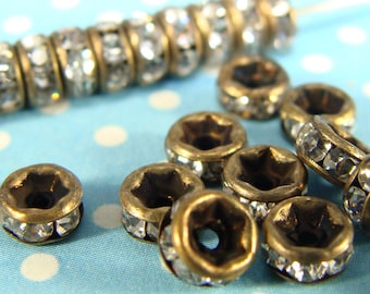4mm BRONZE Rhinestone Spacer Beads 30mm TINY Spacer Disc Beads (T4Bnz) Jewelry Supplies for Bracelets Earrings Necklaces Bulk Beads Findings