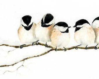What's He Want, Chickadees on a limb, Giclee mini print