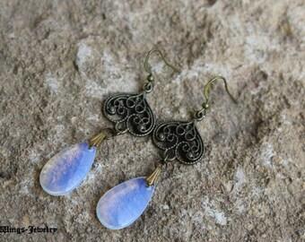 Bronze and opalite drops earrings