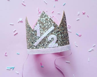 Half Birthday Crown || Pink and Gold Birthday || Gold Crown || Birthday Girl || UnBirthday || Baby Crown || Birthday Girl || 6 months