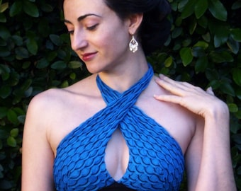 Halter Top:  Hot Blue Fishscale