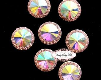10pcs RD83 Light Pink Rhinestone Crystal Embellishments Flatback Buttons DIY Wedding Bridal Wedding Hair Clips Accessories
