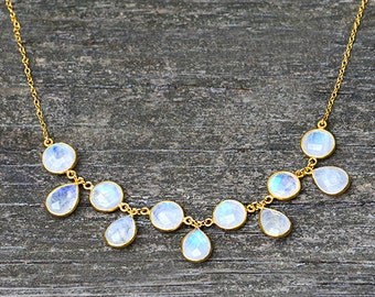 Natural Rainbow Moonstone Necklace, cluster necklace, anthropologie necklace, boho long necklace, gemstone necklace - birthstone gifts