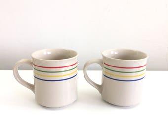 Vintage Rainbow Striped Coffee Mug Set