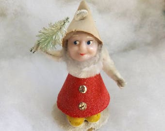 Vintage Christmas elf red cardboard pipe cleaner putz elf chenille dwarf plastic face with bottle brush tree made in Japan no. 2