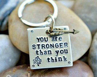You are Stronger than you think Motivational Keychain - Inspirational - Empower - Encourage - Affirmation - Best friend Gift - Unisex