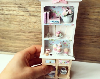 Lovely sweet Miniature Dollhouse supplies, ladders, cabinet 1:12 Food with Cupcakes and Macarons
