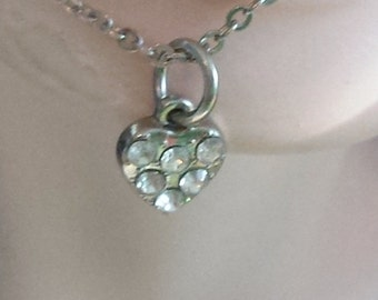 Vintage clear rhinestone mini heart with silver chain, EIGHT  dollar New Year sale FREE SHIPPING
