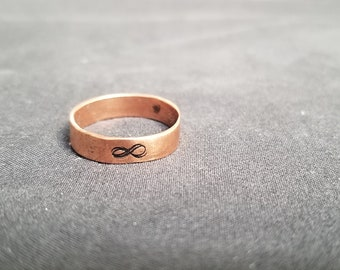 Infinity Handstamped Copper Ring
