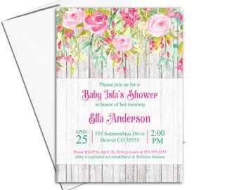Whimsical Girl Baby Shower Invitation, girl baby shower invite, baby shower floral baby shower, watercolor baby shower invitation - WLP00770