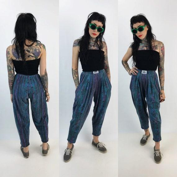 80's/90's All Over Print High Waist Parachute Pants XS Womens - Baggy Elastic Waist Taper Leg Hip Hop Fly Girl High Waist Funky Cotton Pants