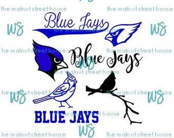SVG - Blue Jay SvG. JPG included. Digitally downloadable file only Mascot Blue Jay Logo TEam Spirit Logo,  Blue Joy Clipart