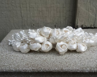 Gorgeous Creamy White Satin Ribbon Rose & Pearl Spray Wide Large Hair Comb for Bridal Wedding Bride Floral Hair Jewelry Accessory Jewellery