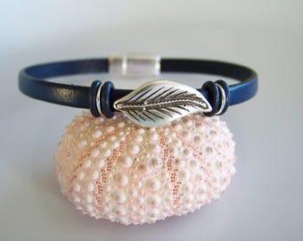 Blue Leather Leaf Focal Bracelet - Item R7523