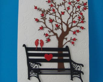 Bird on a bench to make you even couple card Kit