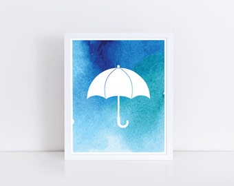 Rainy Day art, open umbrella, weather icon print, Rain insta download, in blue