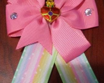 Sailor Moon Inspired Hair Clip Bow with Cosmic Heart Locket Charm