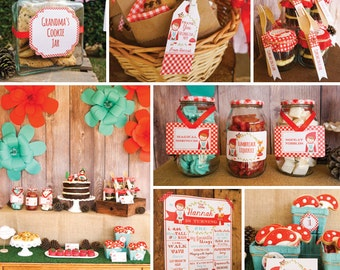 Little Red Riding Hood Party Decorations - Red Riding Hood Party - Instant Download and Editable File - Personalize with Adobe Reader