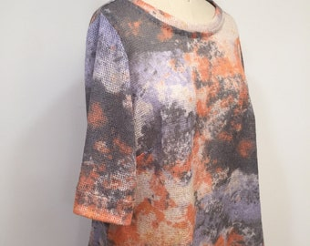 SALE was 179.00 now 160.00 Asymmetrical Top, Pastel Colors, Mohair Top, Wool Top, Tunic, Multicolor Blouse, Loose Top