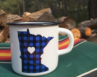 Camping Mug Minnesota Flannel  - Enamel Camp Mug Minnesota Flannel Love - Enamelware Minnesota Coffee Mug - Backpacking Mug by Oh Geez Desig