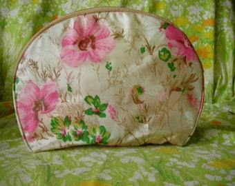 vintage pink floral travel cosmetics bag by celebrity