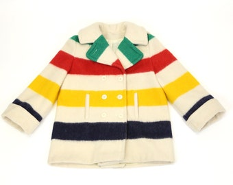 Vintage Hudson's Bay Blanket Pea Coat Hooded Jacket
