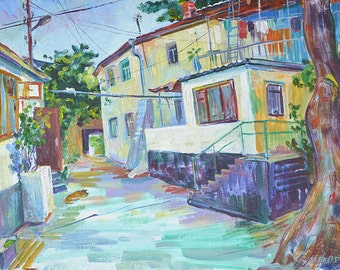 Small southern town cityscape  original impressionist oil painting on canvas interior wall  decorative picture  modern art