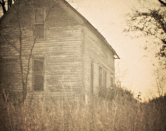 Fine Art Photography Spooky Old House Brown Sepia Window Halloween Scary Archival Print