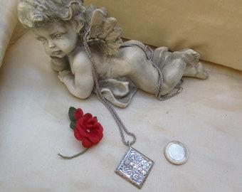 Necklace silver and silver pendant and Swarovski rhinestones