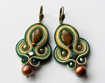 Soutache Earrings Green - Creamy - Gold