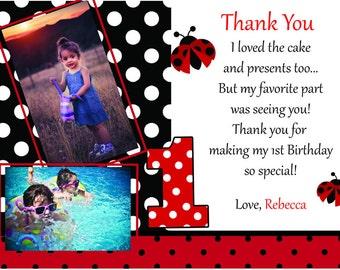 Custom Child's Ladybug Birthday Thank You Card