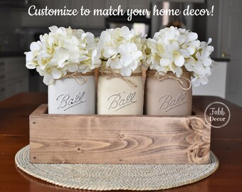 Rustic Mason Jar Centerpiece, Farmhouse Decor, Rustic Decor, Shabby Chic Decor, Distressed Painted Jars, Country Cottage Mason Jars Decor