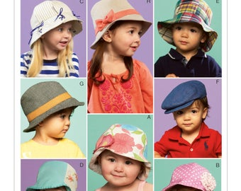 Sewing Pattern for 8 Infants'/Toddlers' Bucket Hats, Fedoras and Caps, McCall's Pattern 6762, Infant Hats, Toddler Hats - Boy & Girl Styles