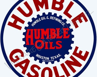 """Reproduction """" Humble Gasoline """" Humble Oil & Refining Co. Houston, Texas Advertising Metal Sign"""