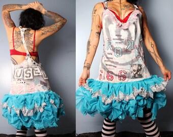 Sale. Playfull Jumper Dress, 80's punk fashion, studded graffiti dress, braided back, painted dress, broken doll babydoll dress, cosplay
