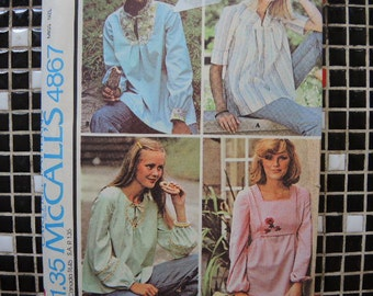 vintage 1970s McCalls sewing pattern 4867 maternity tops size small uncut