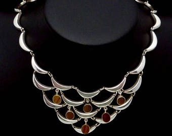 Vintage Robles Taxco Mexican Sterling Silver Tiger Eye Pectoral Necklace 23028