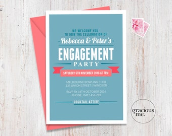 Engagement Party Invitation, Engagement invitation, Printable, Made to Order