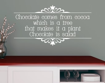 Chocolate is Salad, humorous quote, funny quote, chocolate quote, home decor, kitchen art, best friend gift, chocolate lover, chocolate art