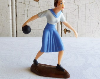 Vintage Lady Bowler Cake Topper in Original Bag - Female Bowler in a Skirt - New Old Stock, NOS - Kitschy 1960s Plastic