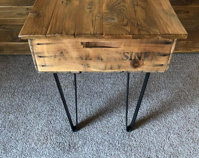 "Featured listing image: 25"" x 19"" x 24.5"" Reclaimed Fruit Crate End Table with Lid and Storage"